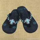 Montana West Flip Flops Child  Sandals Turquoise Cross Rhinestones Black Kids