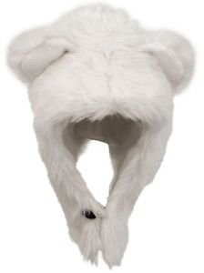 Unisex Polar Bear Faux Fur Hat Warm Winter Trapper With Ears Chin Strap Cold