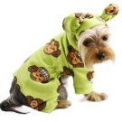Klippo Dog Clothes Silly Monkey Fleece Dog Pajamas Hooded LIME XS-XL Puppy