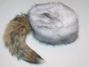 Arctic Wolf Tail Davey Crockett Coonskin Cap Real Fur Coon Daniel Boone Hat