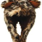 Unisex Leopard Print Faux Fur Hat Warm Winter Trapper With Ears Chin Strap Cold