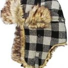 Black Gray Plaid Trapper Hat Faux Fur Warm Winter Aviator Bomber Trooper Hunting