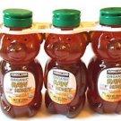 Kirkland Signature Organic Raw Honey Bears Lot Of 3 - 1.5 LBS Each Total 4.5 lbs