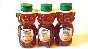 Kirkland Signature Organic Raw Honey Bears Lot Of 3 - 1.5 LBS Each Total 4.5 lbs