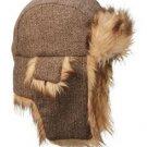 Unisex Brown Tweed Trapper Hat Faux Fur Warm Winter Aviator Bomber Hunting Flier