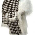 Unisex Houndstooth Trapper Hat Faux Fur Warm Winter Aviator Bomber Hunting Flier