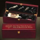 Rosewood Wine Box Wedding Anniversary Gift Gold Engraved Quote 4 Tools Executive