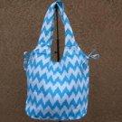 Sky Blue & White Chevron  Canvas Shopper Beach Gym Tote Bag Grocery  Purse Big