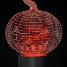 3D Optical Illusion Pumpkin Jack-O'-Lantern LED Color Changing Light Night USB