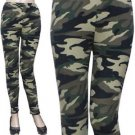 Aztec Brushed Leggings Camo Green Leggings One Size Activewear  Stretch Pants