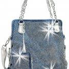 Sparkling Rhinestone Covered Accessorized Tote Fashion Handbag Purse Bag Bling