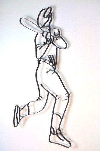 Baseball Player Iron Decorative Metal Wall Art Sculpture Sports Ball Batter