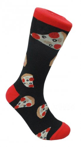 Pizza Slices FineFit Mens Fun Novelty Socks Black Red Size 10-13 Dress Fast Food