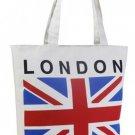 London Canvas Tote Bag England UK British Flag Shopper Beach Gym Handbag Purse