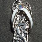 Flip Flop Necklace & Earrings Set Silver Color Rhinestone Bling Beach Sandal