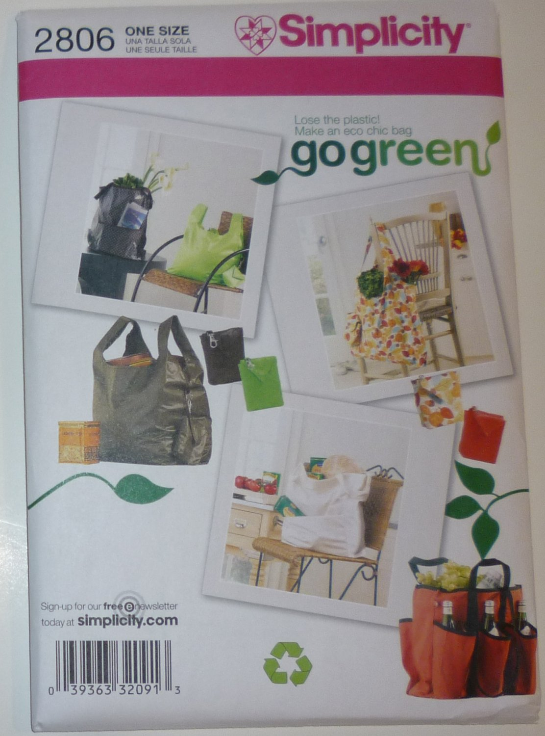 SEWING PATTERN - Shopping Bags Go Green Collection - # 2806