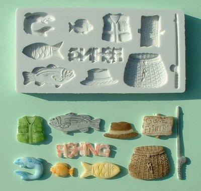 FOOD GRADE MOLD - Gone Fishing Theme Design - Cake Decorating Mold - The Art of Cake Dressing - (15)