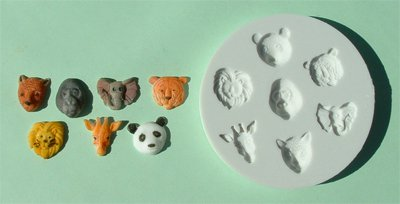 FOOD GRADE MOLD - Small Animal Heads Design - Cake Decorating Mold - The Art of Cake Dressing - (19)