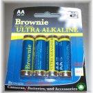 Brownie AA Ultra Alkaline Battery 4 pak  12 packages