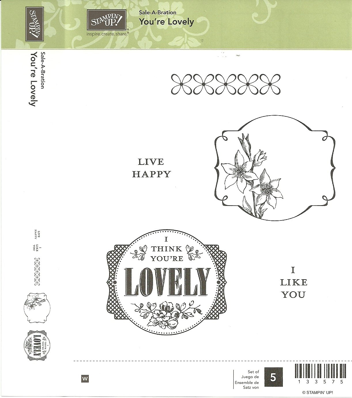 YOU'RE LOVELY - STAMPIN' UP! - Retired Set - NEW - WOOD BLOCKS - Sale-A-Bration