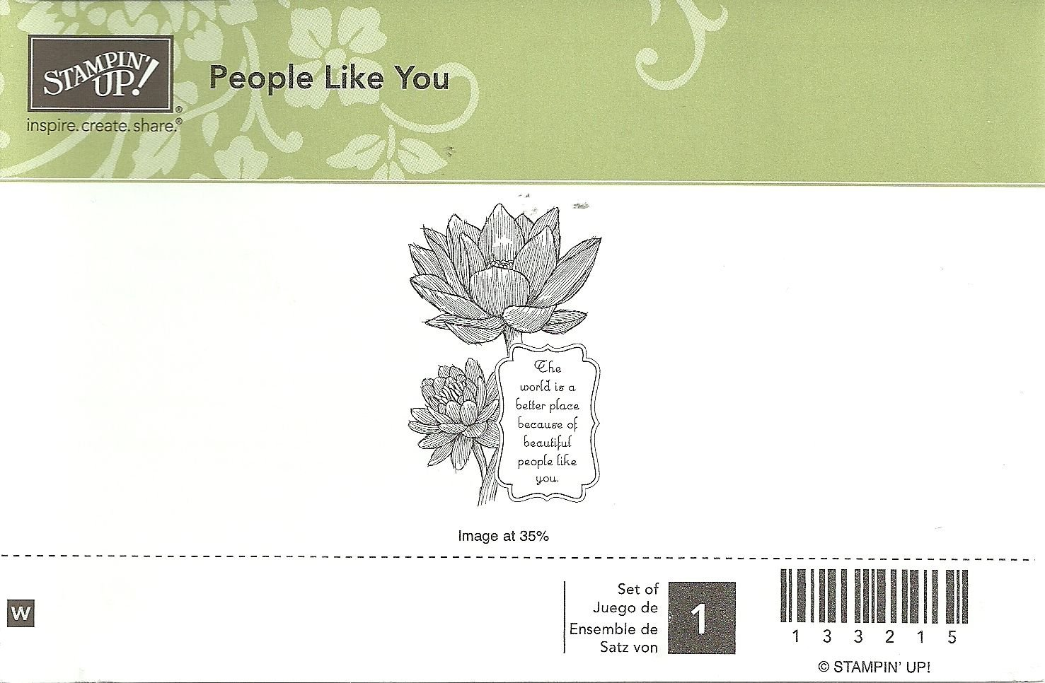 PEOPLE LIKE YOU - STAMPIN' UP! - Retired Rubber Stamp - NEW - WOOD BLOCK 133215