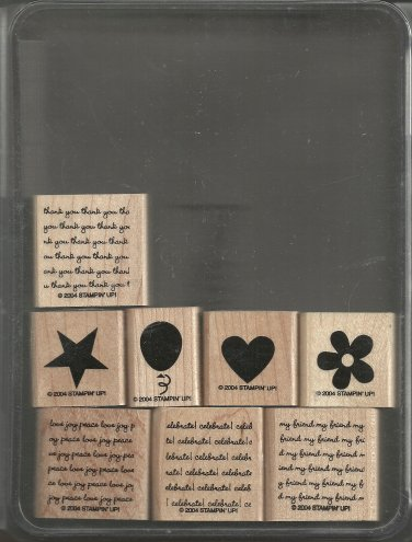 MINI MESSAGES - Two-Step STAMPIN' UP! - 2004 Retired Set - MOUNTED