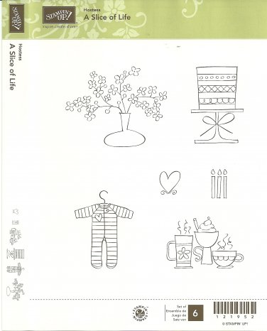 A SLICE OF LIFE - STAMPIN' UP! - Retired Used HOSTESS Set - CLEAR MOUNT