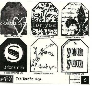 TOO TERRIFIC TAGS - STAMPIN' UP! - Retired Set of 6 - NEW UNMOUNTED