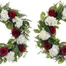 "Set of 2 - Artificial Rose, Hydrangea Wreath - 24"""" D - fwx470-re"