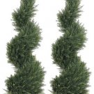 Set of 2 - 4' Spiral Cypress Artificial Topiary Trees ( indoor / outdoor ) - lpc414-gr
