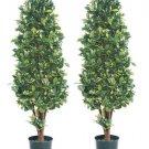 Set of 2 - 5' Silk Ficus Cone Shaped Trees - lpf655-gr