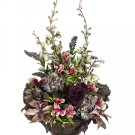 "37"""" Tall Silk Flower Arrangement - Rose / Hydrangea / Delphinium in Urn - wf2701-ep"