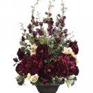 Silk Flower Arrangement - Delphinium / Rose / Hydrangea in Metal Urn - wf2896-ep