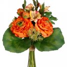 "13.5"""" ARTIFICIAL SILK RANUNCULUS/ALSROMERIA WEDDING BOUQUET - fbq143-or"