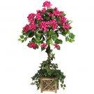 "34"""" Bougainvillea Silk Topiary Plant in Wooden Pot - 5227"