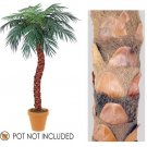 Set of 3 - 8' Silk Phoenix Palms x16 with 864 Leaves Real coconut bark wrapped Bendable Trunks - Non