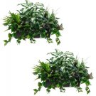Set of 2 - Artificial Philo / Coleus / Boston Fern Plant in Metal Ledge Container - wp7310-gr
