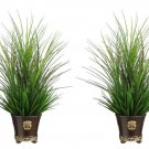 "Set of 2 - 24"""" Artificial Mixed Grass in Ceramic Pots - wp7349-gr"