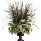 """39"""""""" Artificial Foxtail, Begonia, Grass Arrangement in Urn - wp7322-gr"""