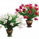 "16"""" Mixed Artificial Tulip in Ceramic Pot  Assorted Sets - wf0009"