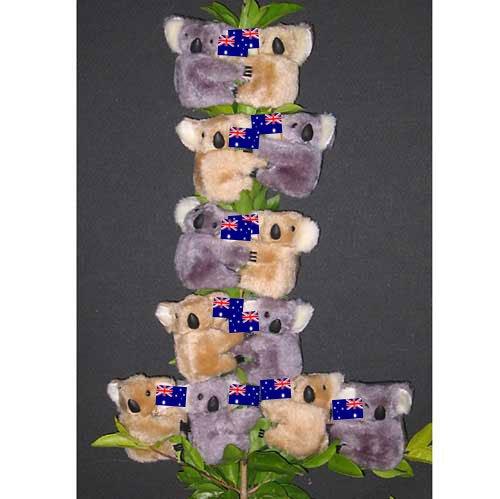 Clip on Koala Bears, Australian Flag (pk of 12) - Koalas from Australia (0060f)