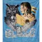 Queen Size Blanket - Indian Maiden w/ Owls