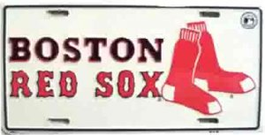 Boston Red Sox #1 Fan White License Plate