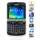 9700 Quad Band Three Cards Three Standby Dual Cameras Color TV Bluetooth Java QWERTY Torch Phone
