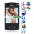 F9500 Quad Band Three Cards Three Standby Dual Cameras Color TV Bluetooth  Phone