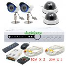 H.264 4 Channel Digital Video Recorder + White Dome Camera + Φ5-48 LEDs Camera