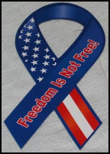 Support Our Troops in Iraq Patriotic Freedom Is Not Free Flag Magnetic Ribbon R42