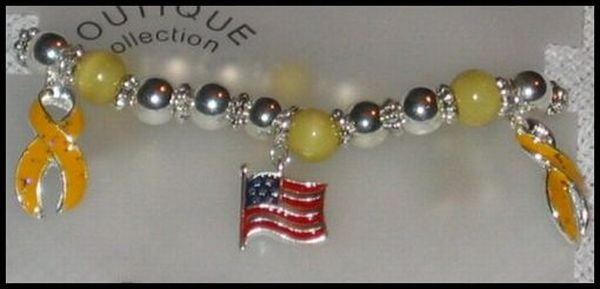 Support Our Troops in Iraq Patriotic American Flag & Yelllow Ribbon Charm Bracelet J12
