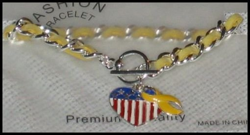Support Our Troops in Iraq Patriotic American Flag Heart & Yellow Ribbon Charm Toggle Bracelet J22