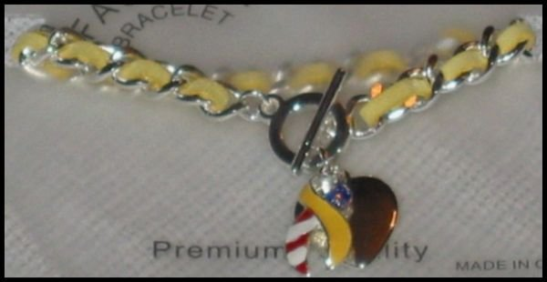 Support Our Troops in Iraq Patriotic American Flag Yellow Ribbon & Heart Charms Toggle Bracelet J42